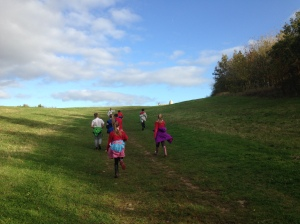 Group running uphill